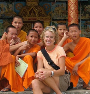 Kathy Dragon in Laos with Monks